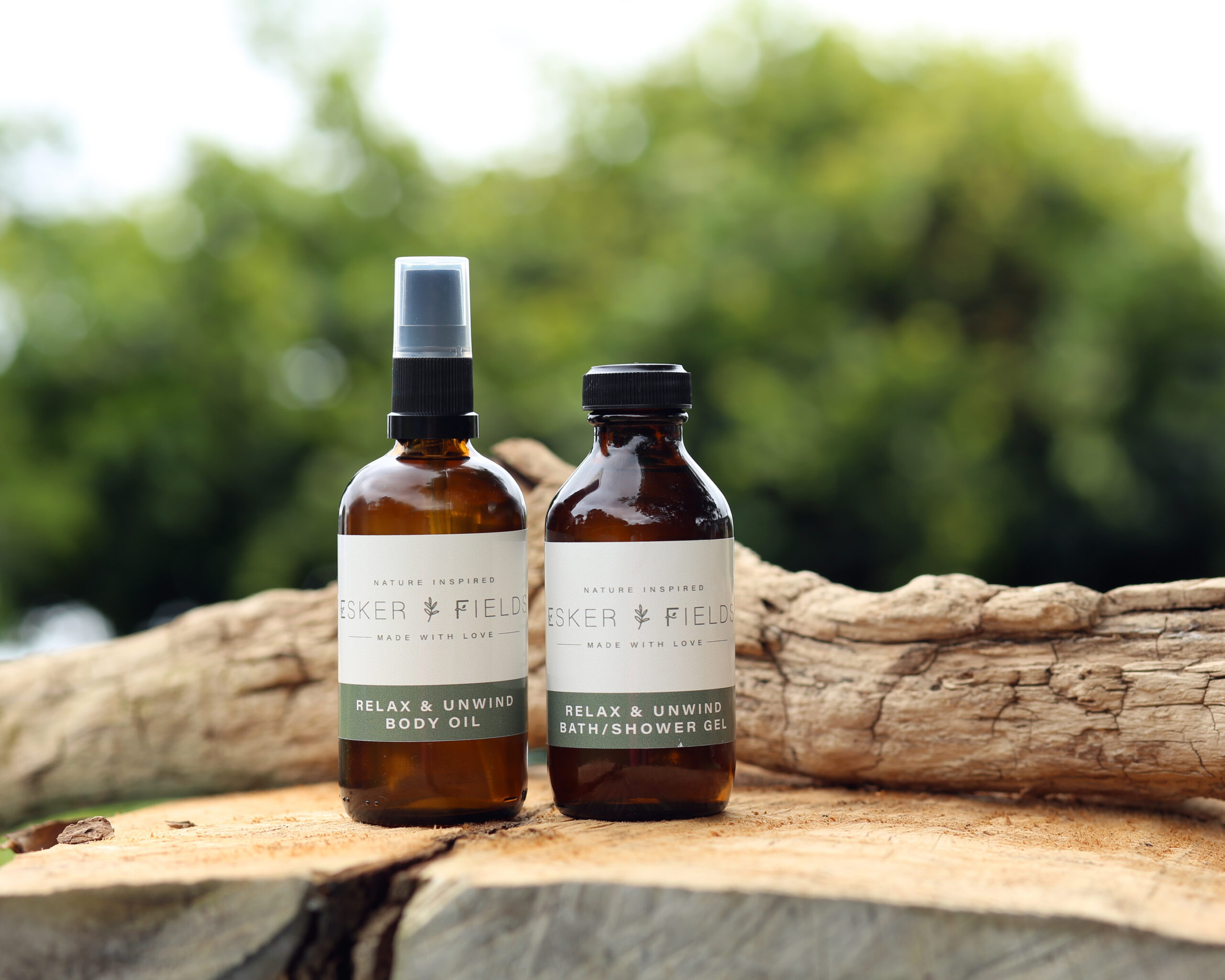 Esker Fields Body Oil and shower gel